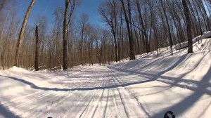 Snowmobilers enjoy the well-maintained trails near Clam Lake.  Ashland County offers more than 220 miles of snowmobile trails.