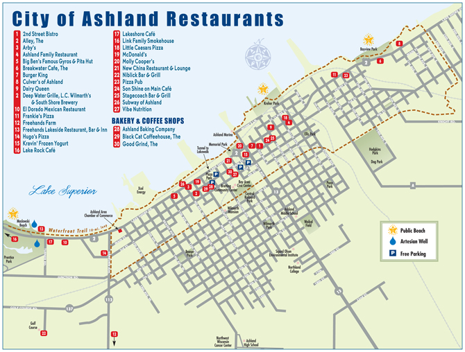 Ashland Restaurant Map