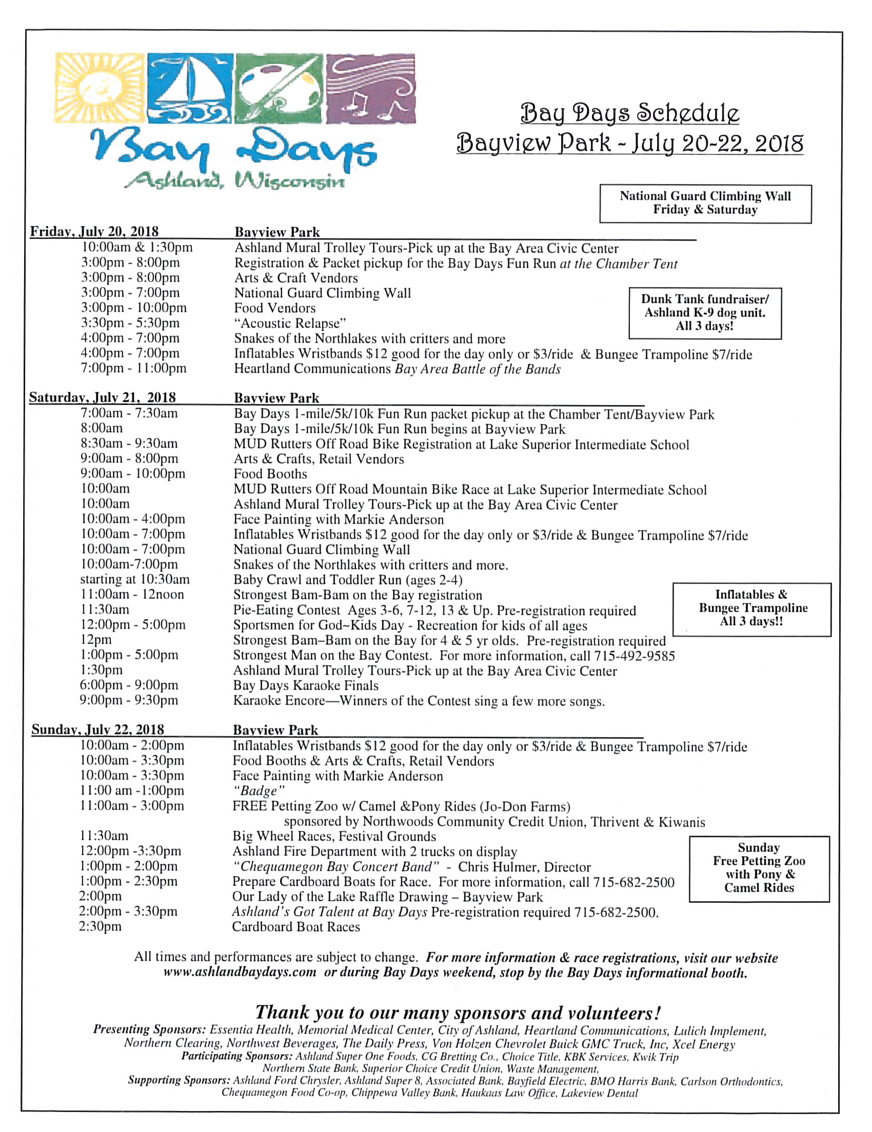 ashland bay days 2018 schedule of events
